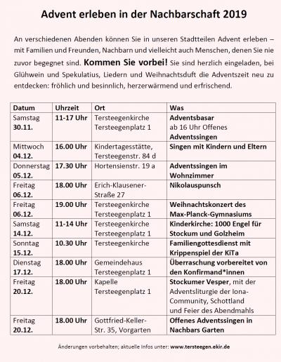 Advent in der Nachbarschaft – Golzheim & Stockum
