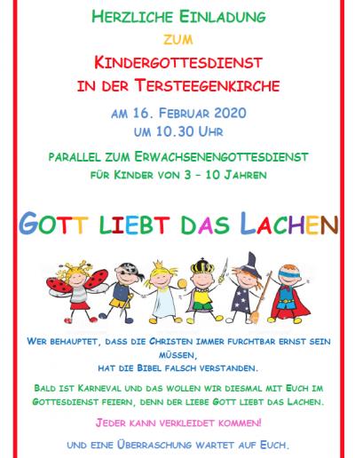 Kindergottesdienst in der Tersteegenkirche am 16.02 um 10:30