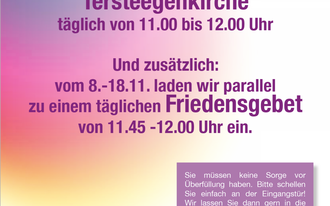 """""""Kraftort"""" und Friedensgebet – Tersteegenkirche"""